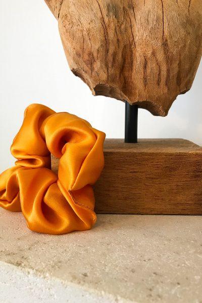 chouchou en soie satin orange
