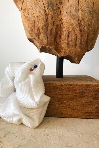 chouchou en twill de soie blanc