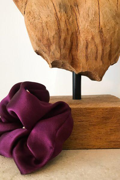 Chouchou en soie violet