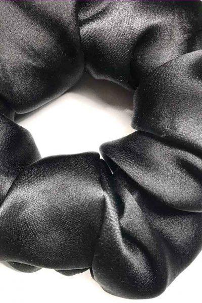 Silk chouchou, darling xxl, big darling in silk, darling made in France, darling in iris purple silk crepe, gift box of three darlings in custom silk The fabric of Saba, darling in pure and natural silk made in France, darling made in France, darling in silk, darling, darling made in France, Chouchou in intense black silk satin