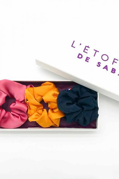 Gift box of three darlings in customizable silk The fabric of Saba, darling in pure and natural silk made in France, darling made in France, chouchou in silk, darling xxl, big darling made in France, darling in purple silk crepe iris, gift box of three darlings in custom silk L'fabric de Saba, darling in pure and natural silk made in France , darling made in France, silk darling, darling, darling made in France,