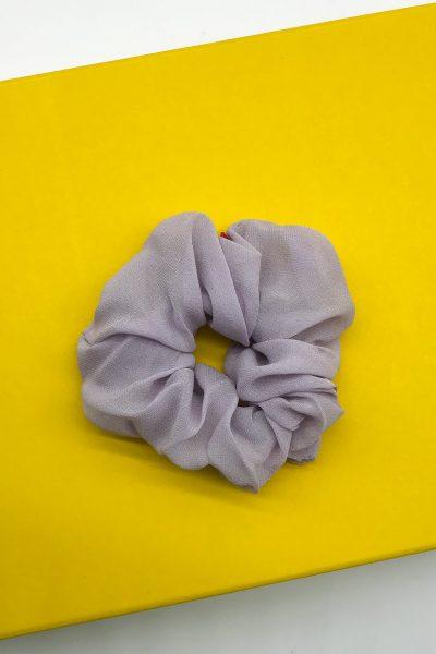 Chouchou en georgette de soie rose parme