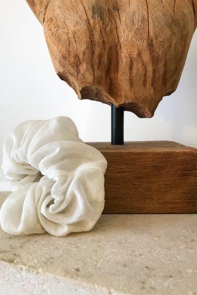 chouchou en coton soie écru