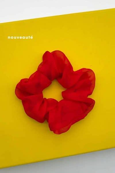 Chouchou en soie organza rouge